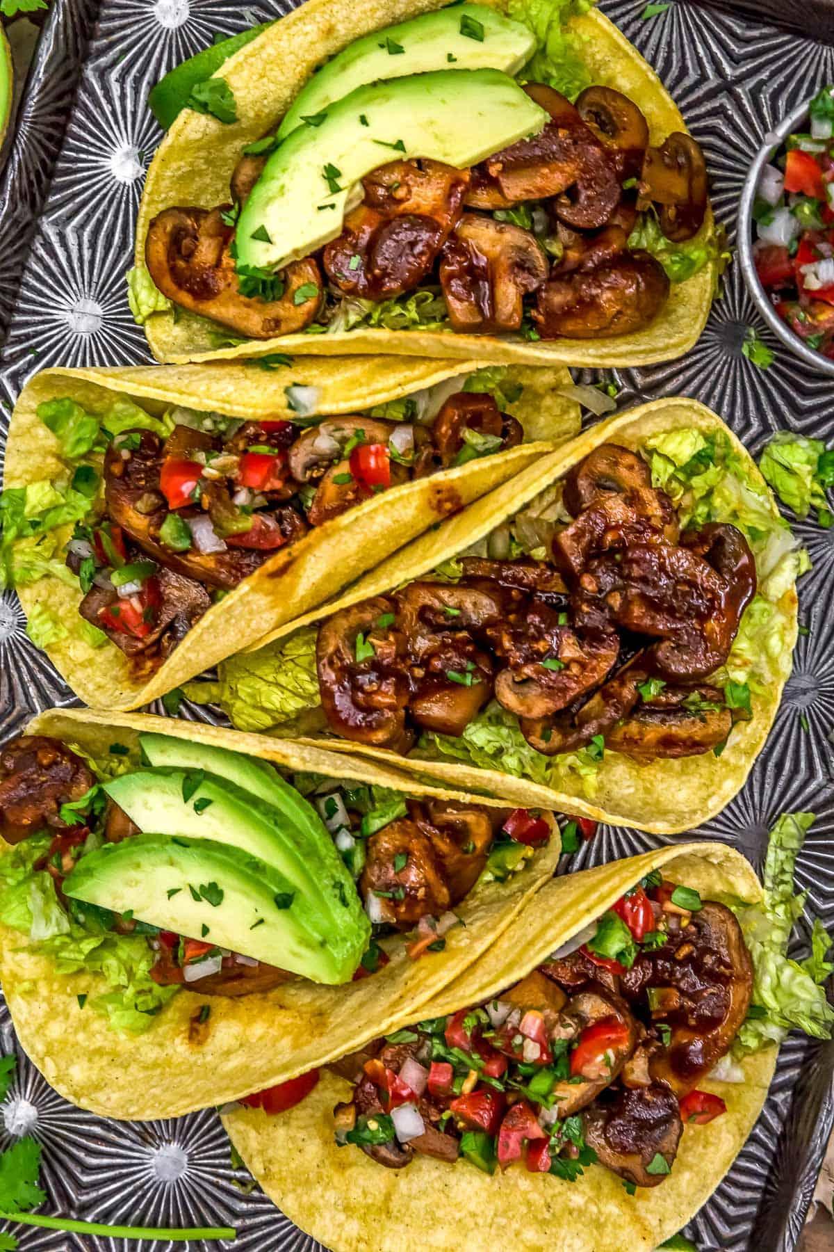 Tray of Chipotle Mushroom Tacos
