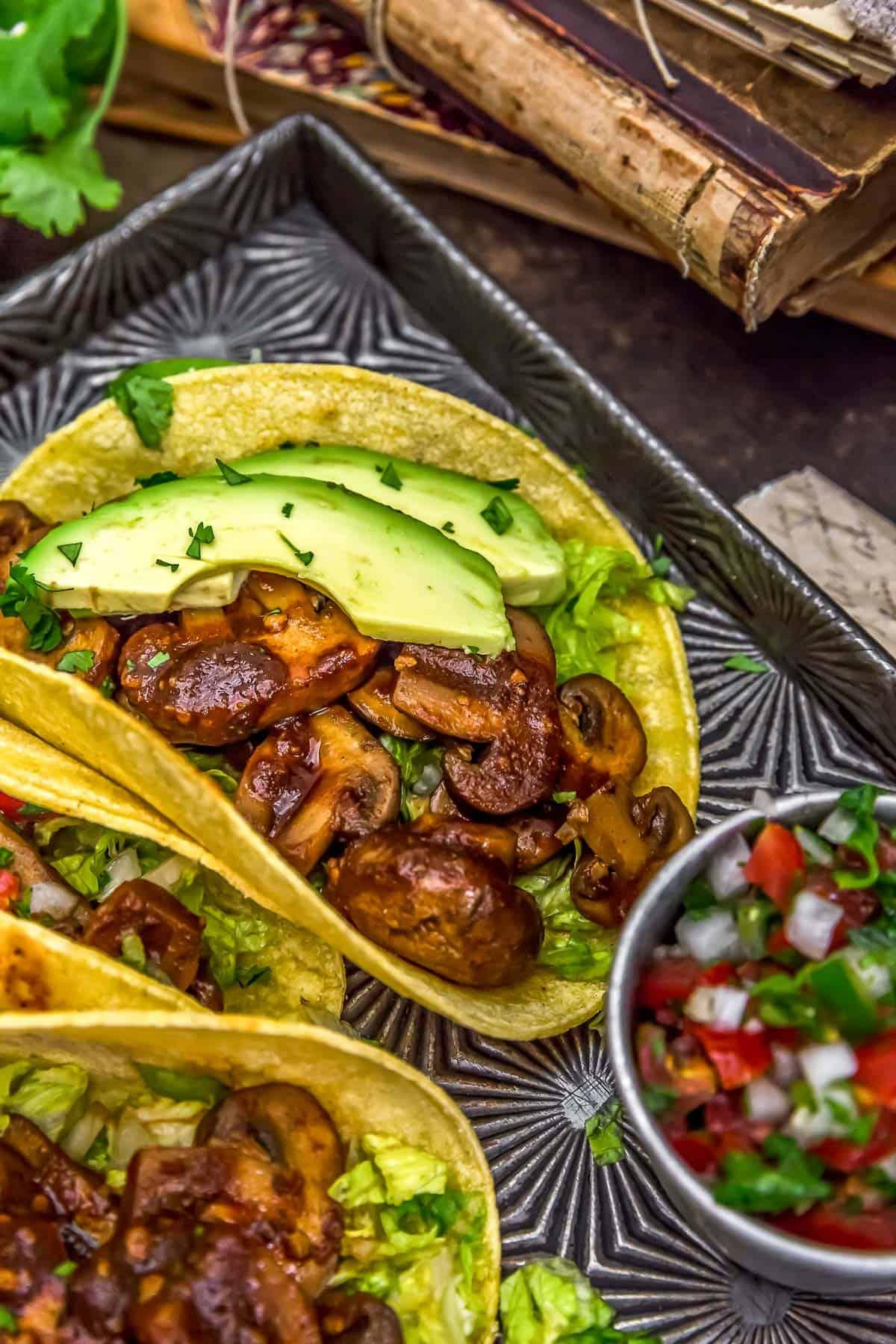 Chipotle Mushroom Tacos with avocado