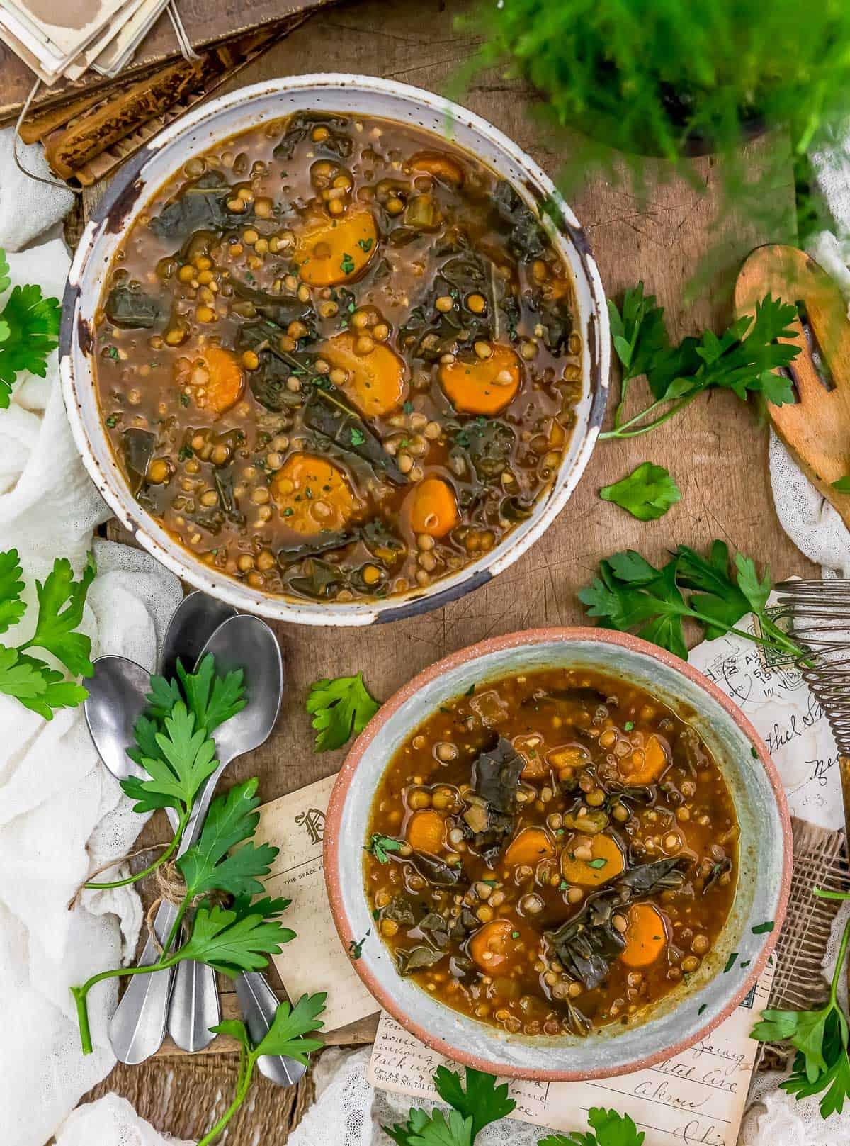 Tablescape of Collard Greens Lentil Soup