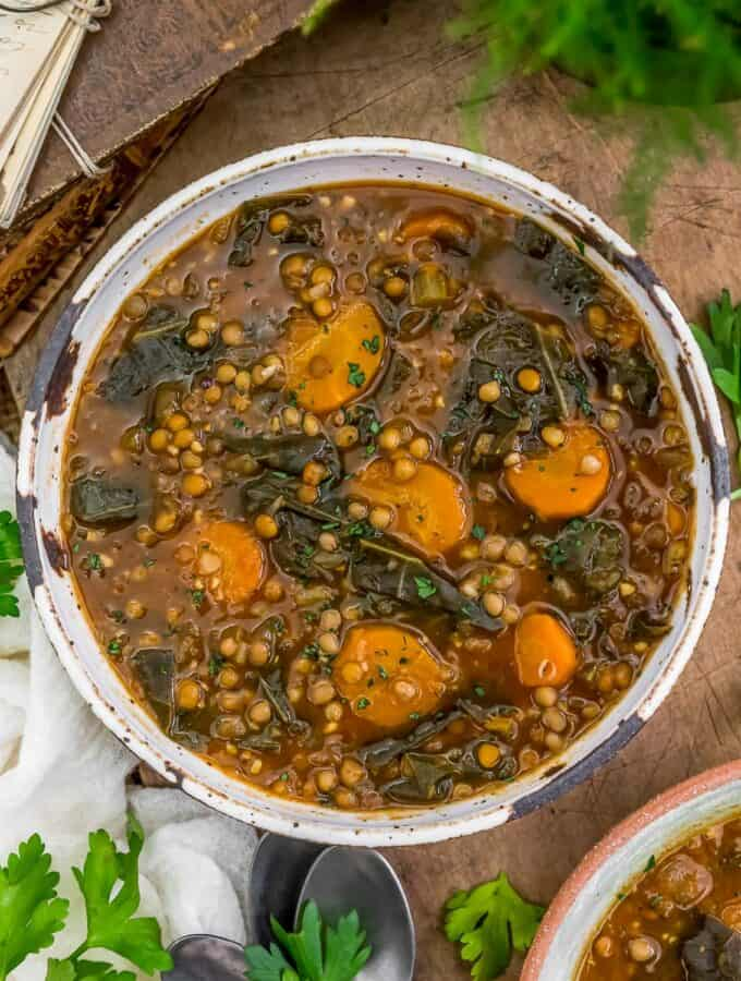 Bowl of Collard Greens Lentil Soup