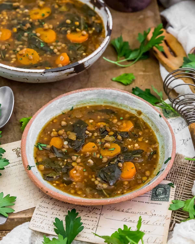 Served Collard Greens Lentil Soup