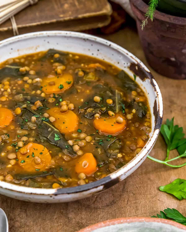 Close up of Collard Greens Lentil Soup