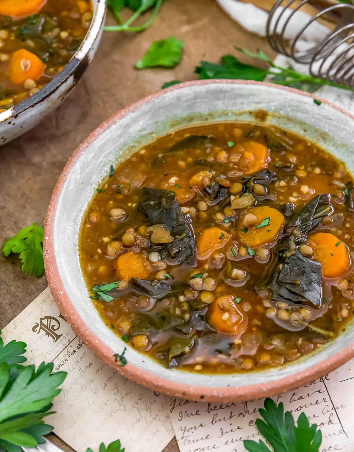 Collard Greens Lentil Soup in a bowl