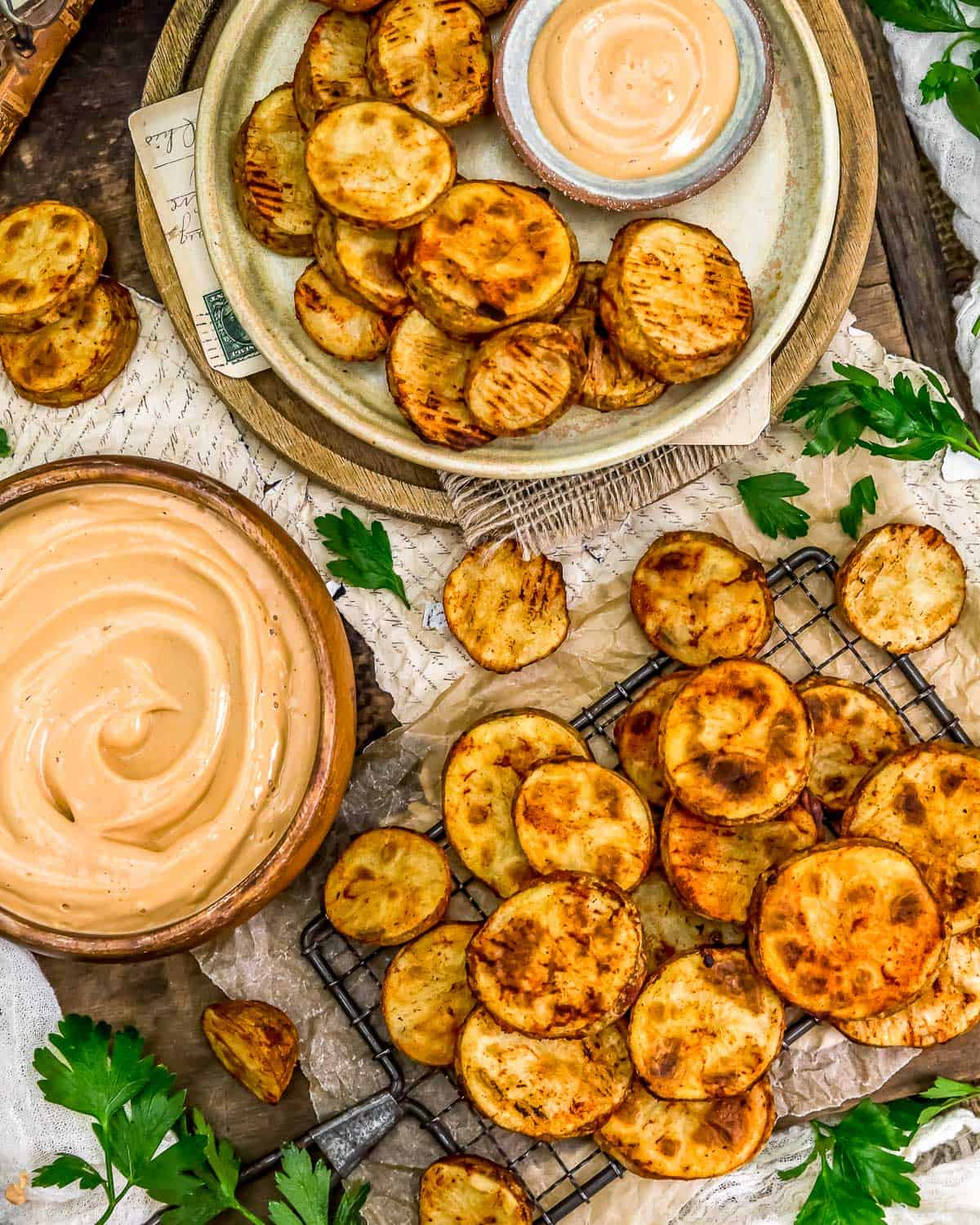 Tablescape of Oil-Free Baked Potato Slices