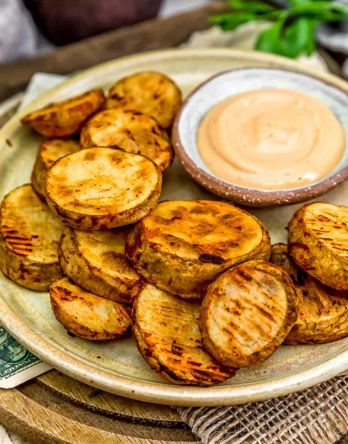 Oil-Free Baked Potato Slices on a plate