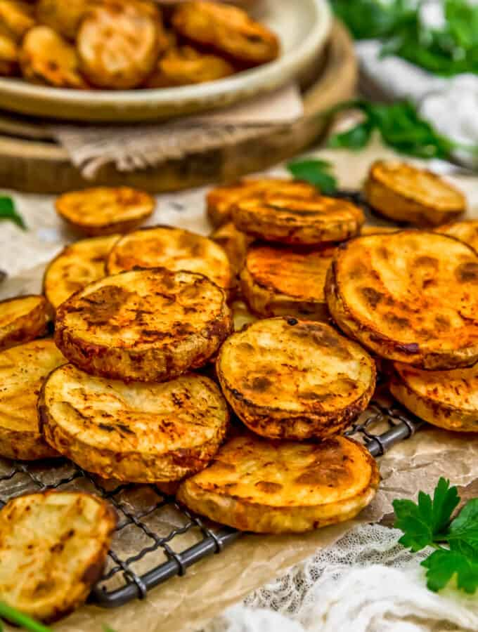 Close up of Oil-Free Baked Potato Slices