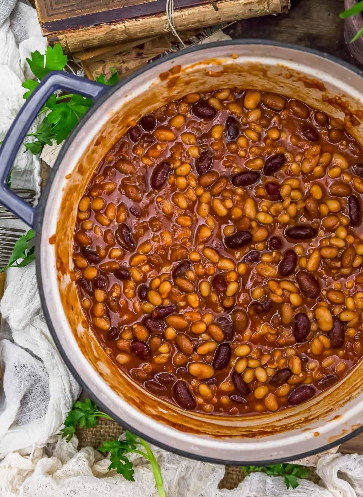 Pot of Vegan Baked Beans