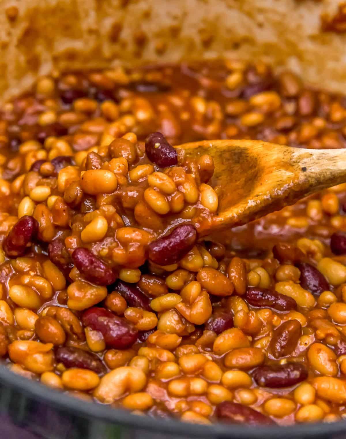 Serving Vegan Baked Beans