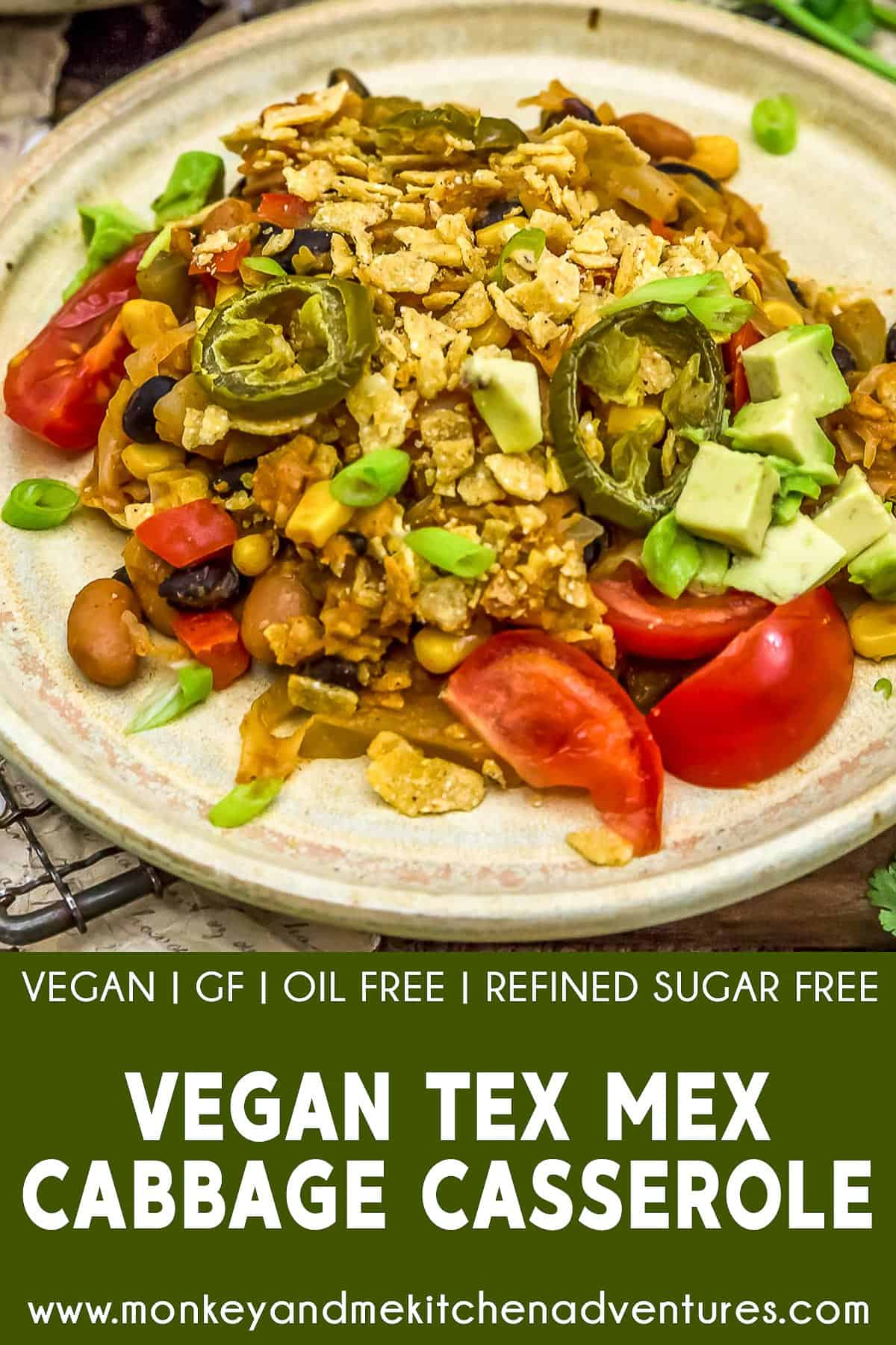 Vegan Tex-Mex Cabbage Casserole with text description
