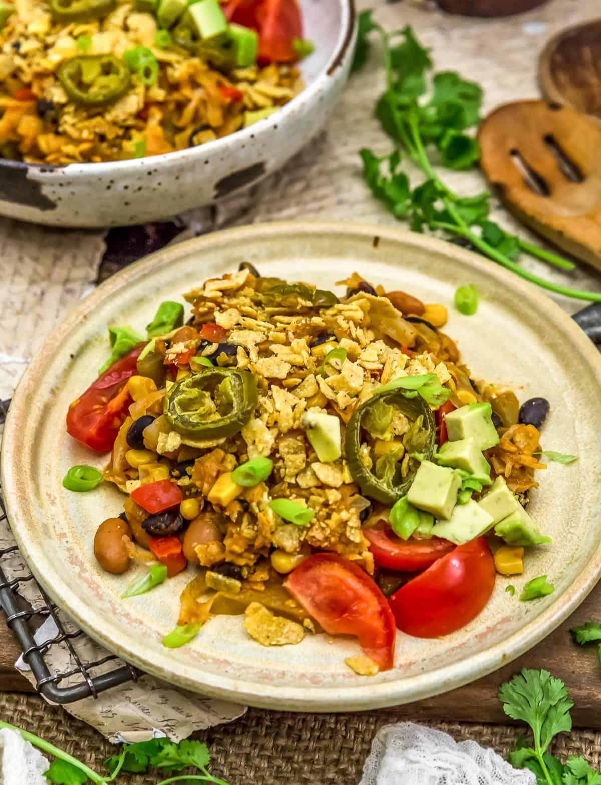 Served Vegan Tex-Mex Cabbage Casserole