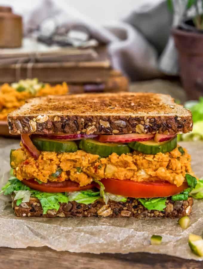 "Close up of Vegan ""Ham"" Salad Sandwich Spread"