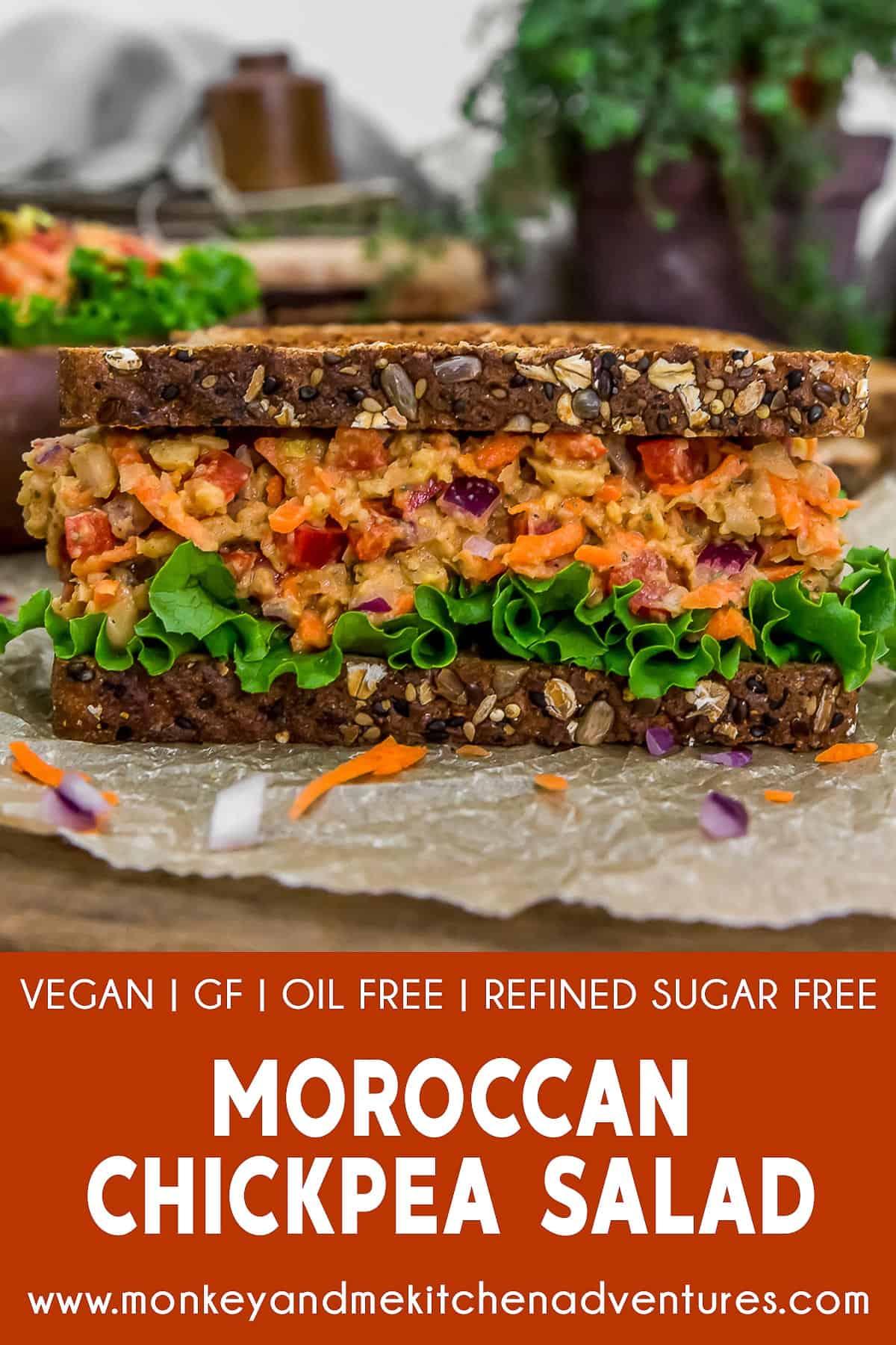 Moroccan Chickpea Salad with text description