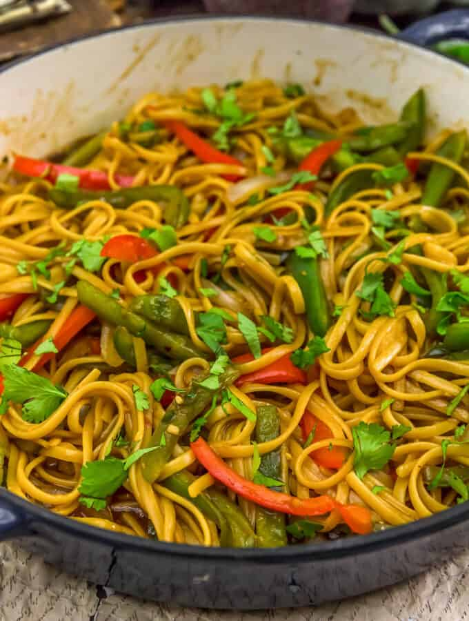 Close up of Thai Peppers and Noodles in a skillet