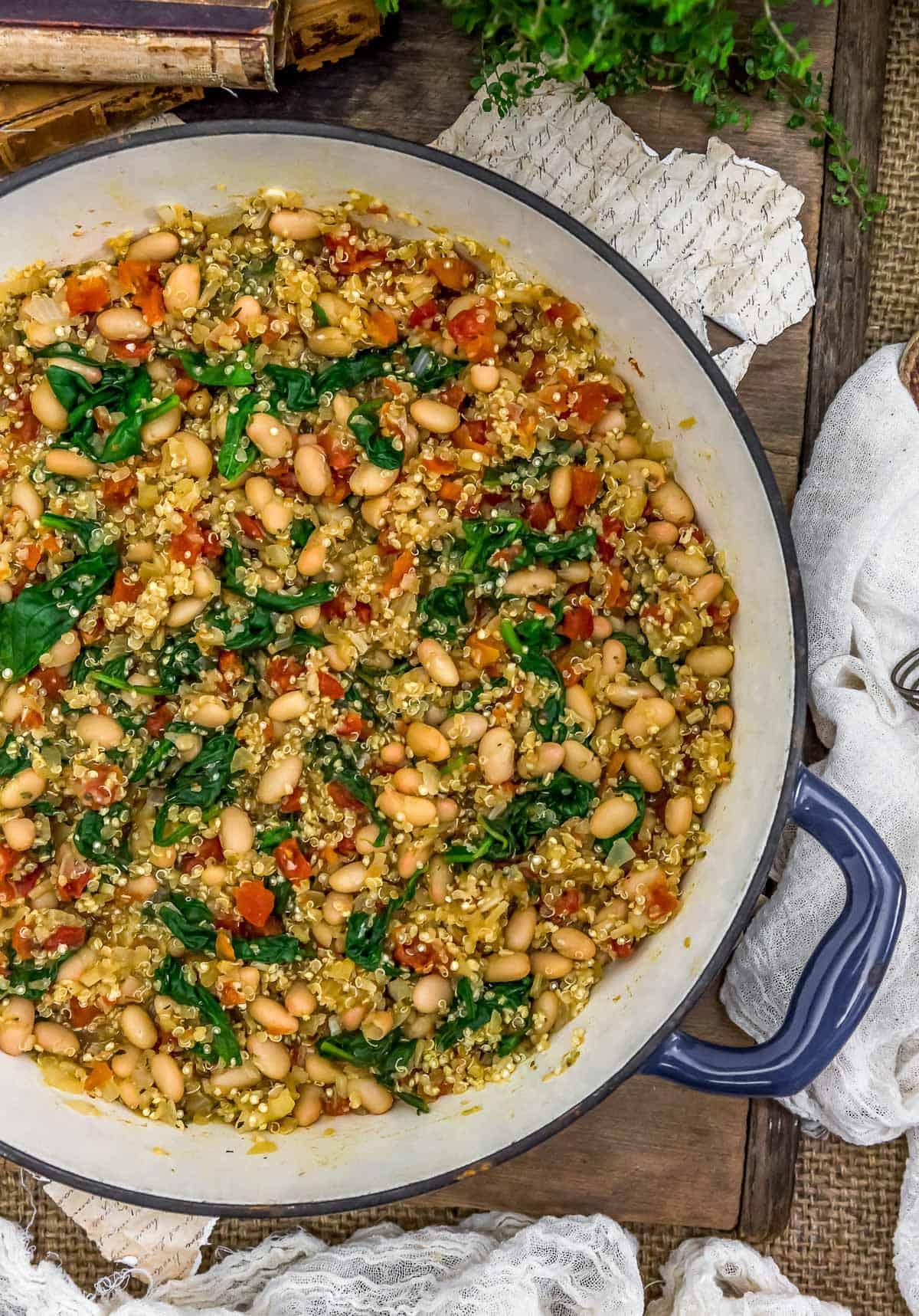 Side view of Tuscan White Bean Quinoa Skillet