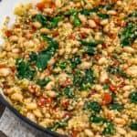 Close up of Tuscan White Bean Quinoa Skillet