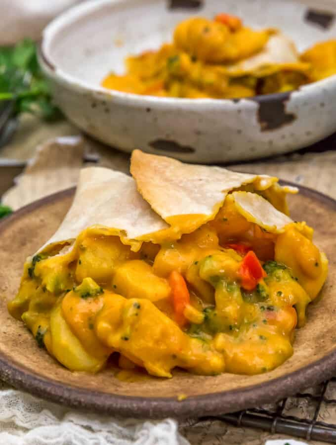 Close up of Vegan Cheesy Potato and Broccoli Pot Pie