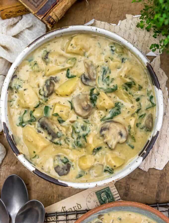 Bowl of Creamy Herb Potato and Kale Stew