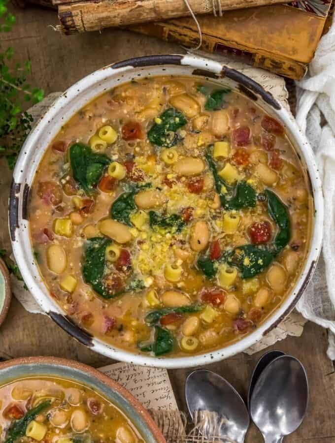 Bowl of Easy Vegan White Bean Parmesan Soup