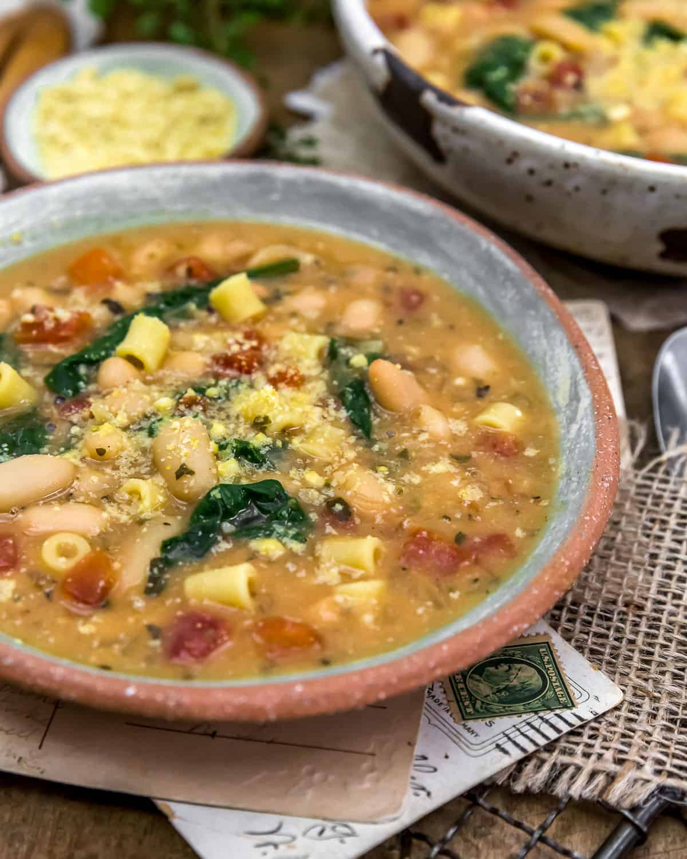 Close up of Easy Vegan White Bean Parmesan Soup