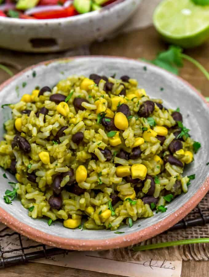Close up of Oil-Free Mexican Green Rice
