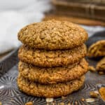 Stack of Old-Fashioned Pumpkin Spice Oatmeal Cookies